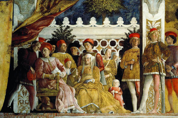 Group of regals and courtiers in a palace