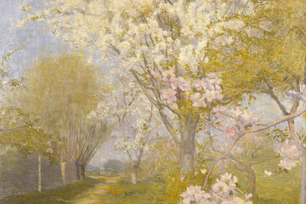 A landscape painting of tree-lined a pathway in spring