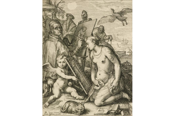Jan Saenredam after Hendrick Goltzius, Allegory of Visual Perception