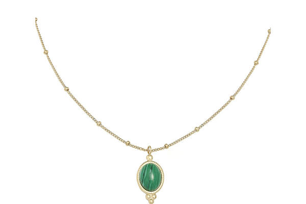 Gold Necklace with green stone pendant