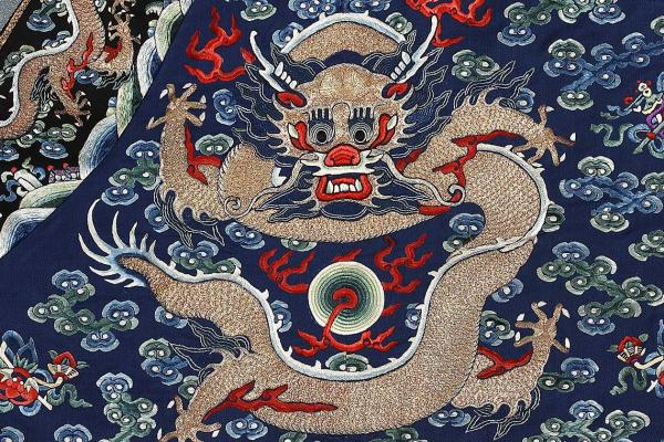 Man's formal robe with clouds and dragons (detail), 19th century