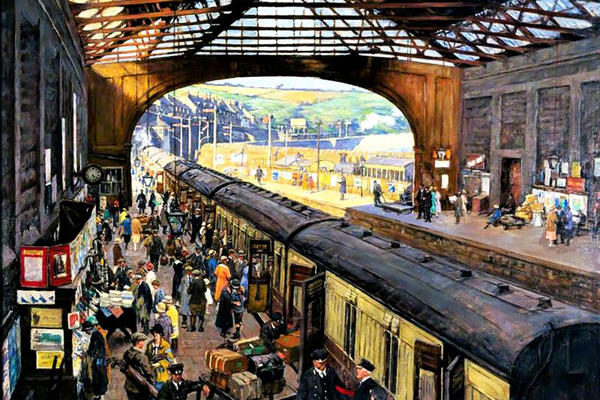 Painting of people standing on the platform at Terminus Penzance Station Cornwall 1925, York Railway Museum, Stanhope Forbes
