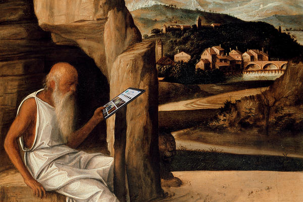 detail st jerome reading in a landscape by giovanni bellini with a tablet ashmolean museum wa1899 cdef p1