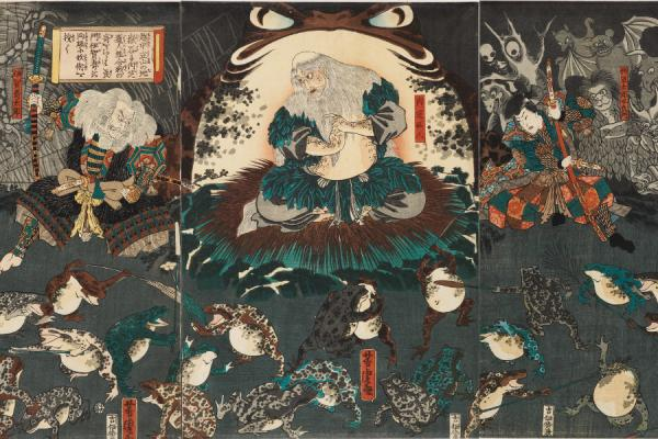 Utagawa Yoshitora, Nikushi the Frog Spirit Conjures up a Magical Battle of Frogs at Tateyama, woodblock print, 1864