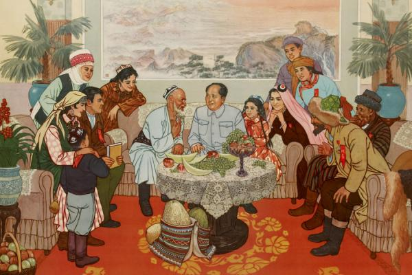 Wei Zhang, At the Happy Hearth of the Motherland, lithograph