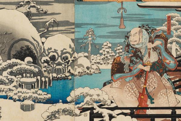 Utagawa Hiroshige, Taira no Kiyomori Haunted by Spectres, woodblock print, 1845
