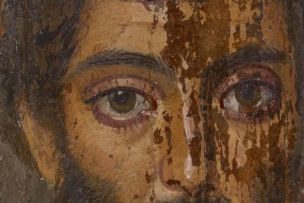 Mummy portrait of a man (detail), Egypt, c.AD 200