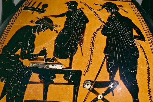 Athenian black-figure pelike showing a shoemaker at work, Greece, 6th-5th century BC