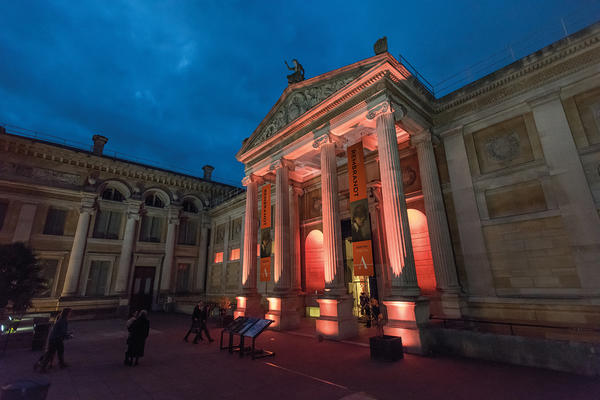 Ashmolean Forecourt at Night with Rembrandt Banners
