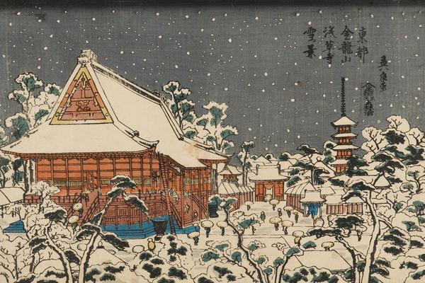 Snow Scene at Senso-ji Temple, Keisai Eisen, 1830–1840