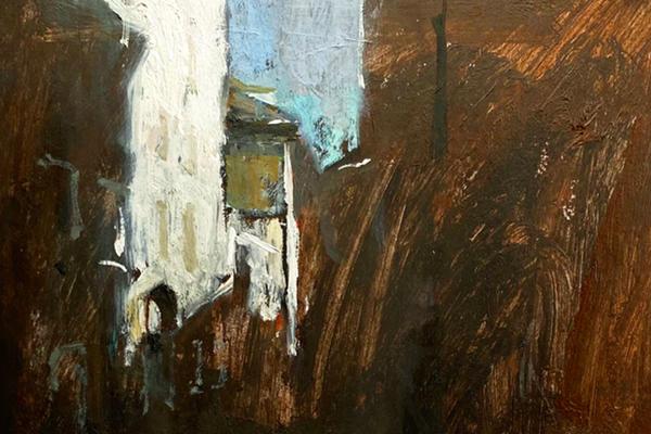 Light and dark oil and acrylic painting of Venice scene by Artist Kieran Stiles