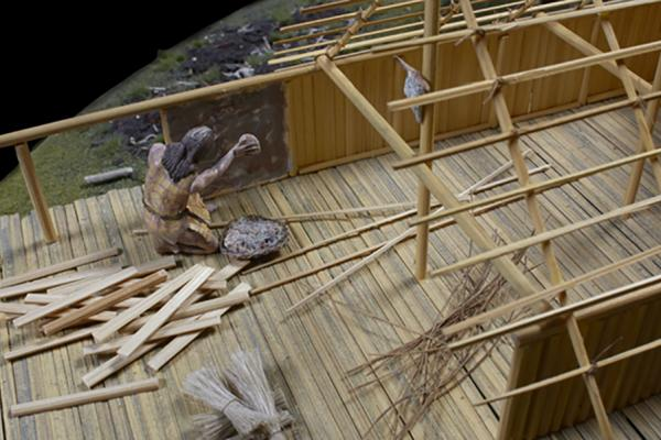 neolithic lake village model close up daub