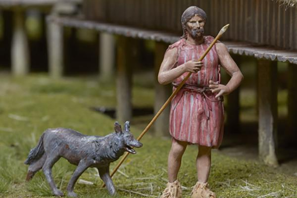 neolithic_lake_village_model_man_with_spear_and_a_dog