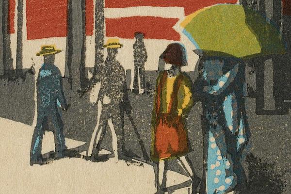 Detail from Onchi Koshiro – Tokyo Station, Scenes of Last Tokyo, 1945