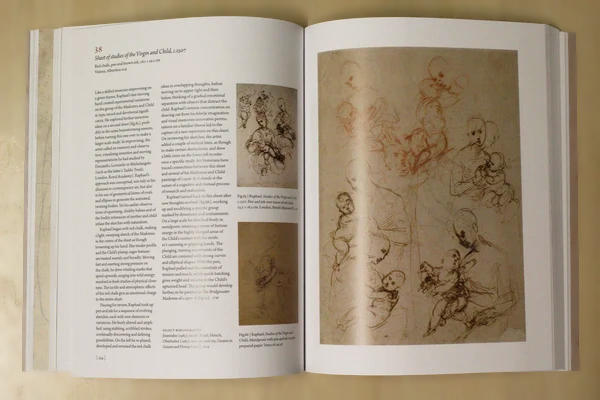 A book lays open on a table, in it is text and drawings relating to Raphael
