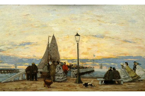 The Jetty at Trouville: Sunset by Eugène Louis Boudin at the Ashmolean Museum
