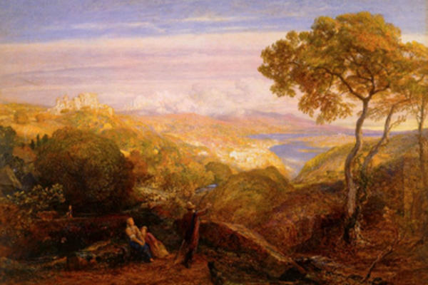 A painting depicting an Italian landscape scene with a seated couple facing a figure pointing into the distance