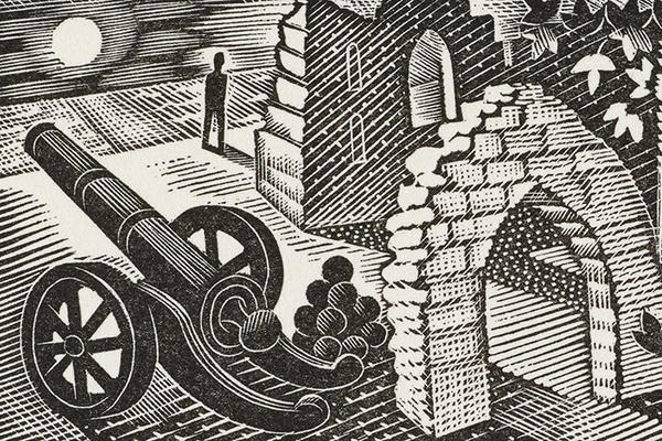 A black and white print of a brick archway and a cannon with a small human figure gazing out over a moonlit sea in the background, by Eric Ravilious.