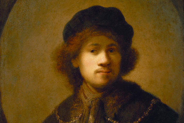 An oval-shaped painting of a young man in a dark cape and hat against a light background.