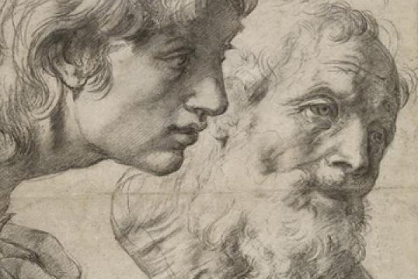 Studies of two apostles by Raphael