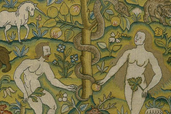 Embroidered picture of Temptation of Adam and Eve (detail), English, 17th century