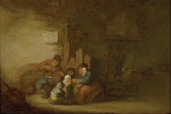 Adriaen van Ostade, A Peasant Family eating in an Interior, 1637