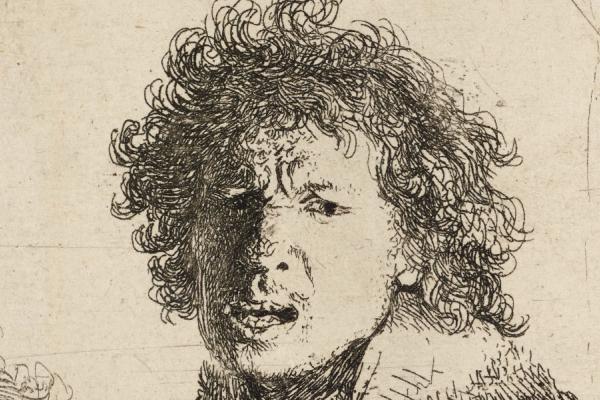 Rembrandt, Self-portrait shouting, 1630
