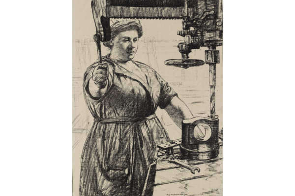 Archibald Standish Hartrick, On Munitions - Heavy Work (Drilling a Casting), lithograph, 1917