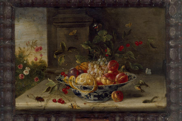 Decorative Still-Life Composition with a Porcelain Bowl, Fruit and Insects