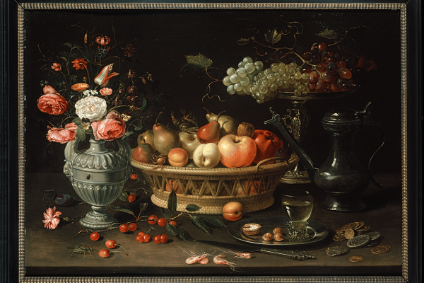 Still Life of fruit and Flowers, Clara Peeters