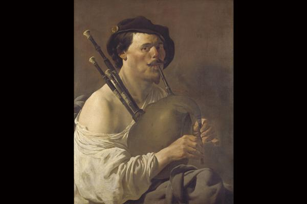 wa 1944 101 portrait of a man playing the bagpipes