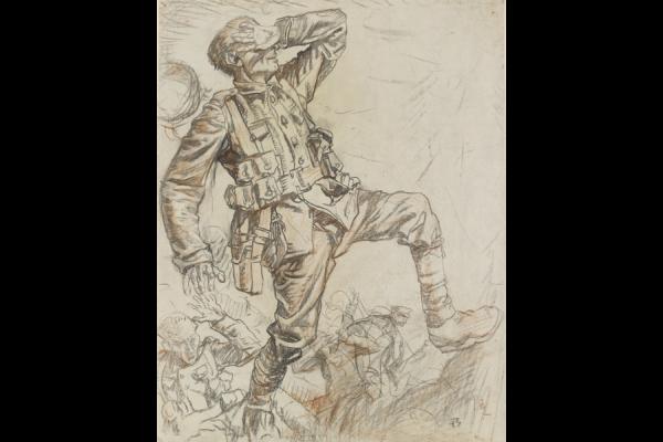 Frank Brangwyn, Soldiers Under Airburst Fire, Black and red chalk, 1919