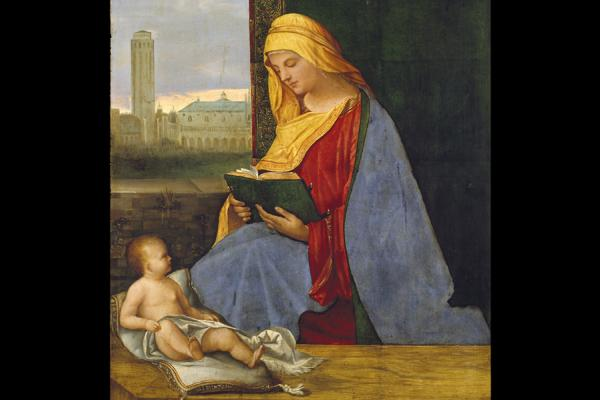 the virgin child with a view of venice ashmolean