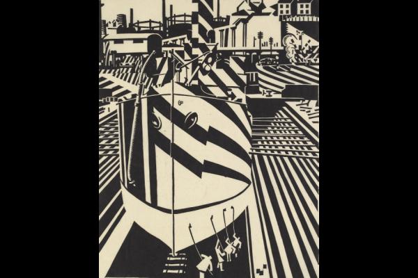 Edward Wadsworth, Dazzled Ship in Drydock, woodcut on cream paper, 1918