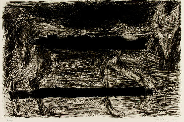 Black and white etching of a wolf by the artist Rainer Fetting