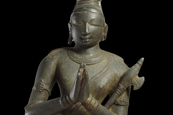 South Indian bronze sculpture depicting Hindu saint, Chandikeshvara.