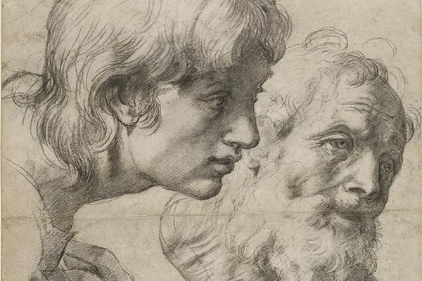 Black chalk sketches of two figures.