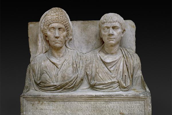 TOMBSTONE OF CLAUDIUS AGATHEMERUS AND MYRTALE ROME at the Ashmolean