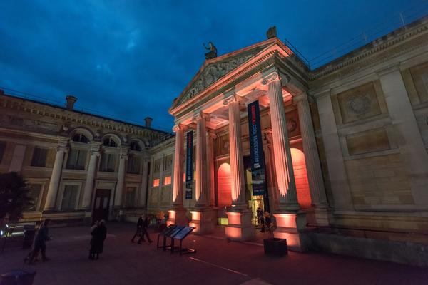 Front of the Museum at Night - Christmas Party Event