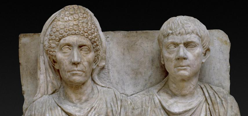 TOMBSTONE OF CLAUDIUS AGATHEMERUS AND MYRTALE from the Ashmolean collections