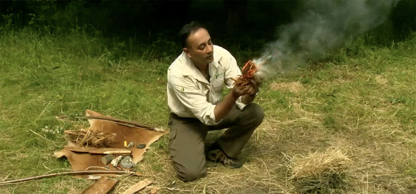 learn pre-history image fire starting using a bow drill