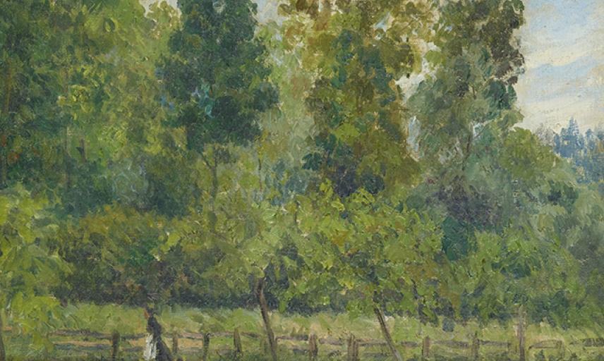 Wooded Landscape: a Woman walking with a Dog, Felix Pissarro, c. 1889 - 1897