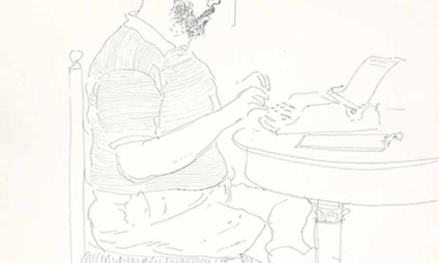 Henry writing by David Hockney