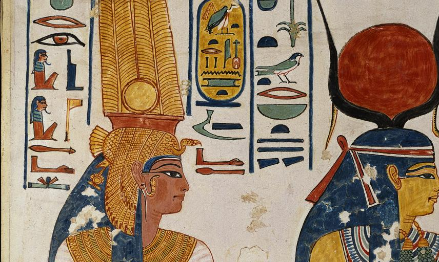 Copy of wall painting from the Queen's tomb 66 of Nefertari, Thebes, Queen Nefertari and the goddess Isis, copy by Nina Davies (1881 - 1965)