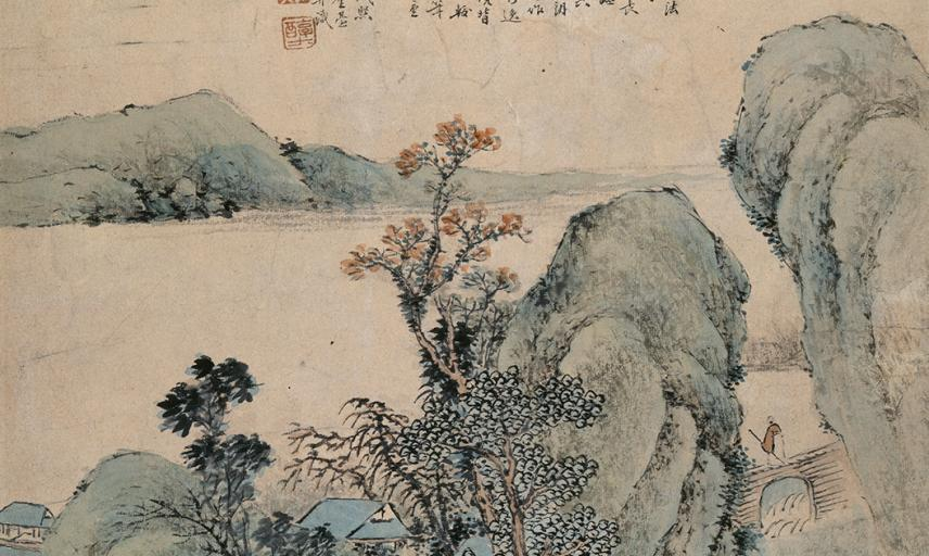 Landscape with figure on a bridge, Dai Xi