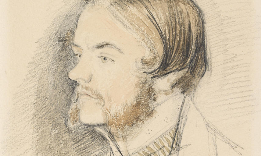 Portrait drawing of John Everett Millais in profile, looking left