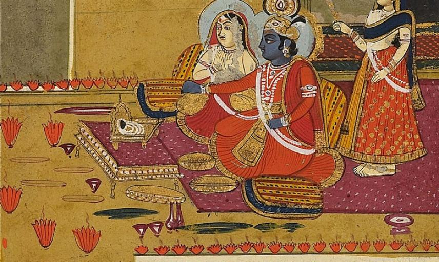 Colourful painted detail of Krishna and Radha seated