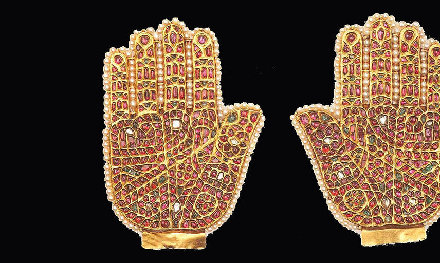 Two mosaic hands