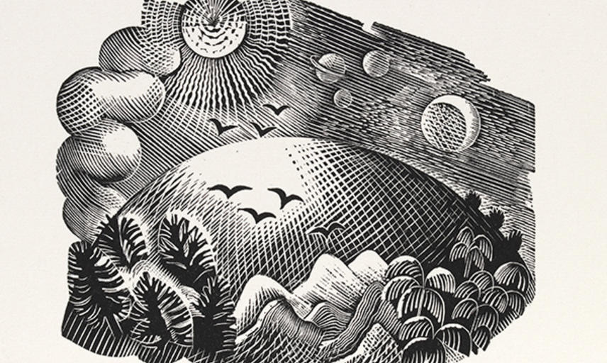 An engraving by Eric Ravilious showing a Landscape with hills and birds and the planets in the sky above.