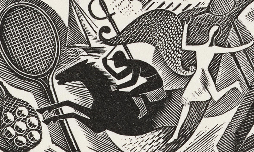 A modernist black and white print of mixed sporting symbols including a tennis racket, a man on a racehorse, add a dancing woman, be Eric Ravilious.